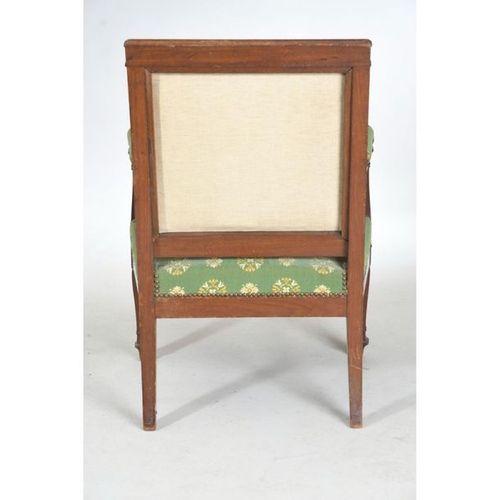 ENSEMBLE DE SALON EMPIRE en acajou et placage d'acajou comprenant 4 fauteuils et…