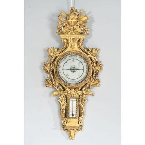 BAROMETRE THERMOMETRE LOUIS XVI en bois doré et richement sculpté d'instruments …