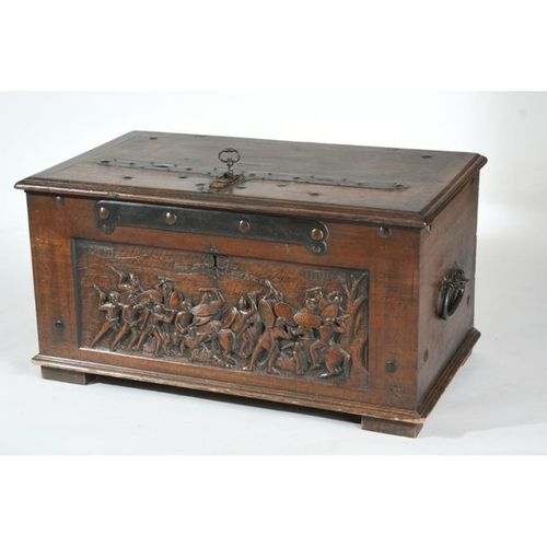 ORIGINAL TAX COLLECTOR CASE in walnut carved from a battle scene in an ancient l…
