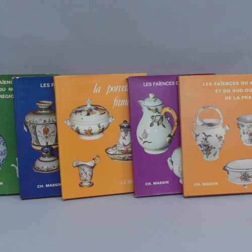 Editions Ch. MASSIN / FAIENCES Lot of 5 books :  Earthenware from Rouen, the Nor…