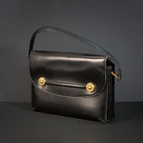 "HERMES Paris, ""Floride  black box bag, gold plated trimmings  Circa 1960  Used 1…"
