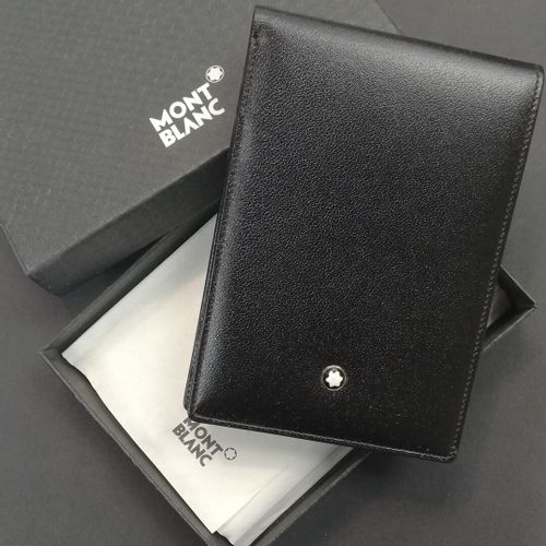 MONTBLANC  Black leather notebook, signed in its original box