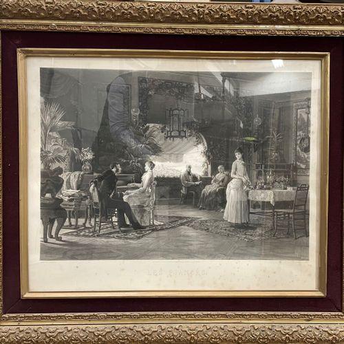 D'après Louis Auguste LOUSTAUNAU (1846 1898)  Les fiancés.  Gravure monumentale …