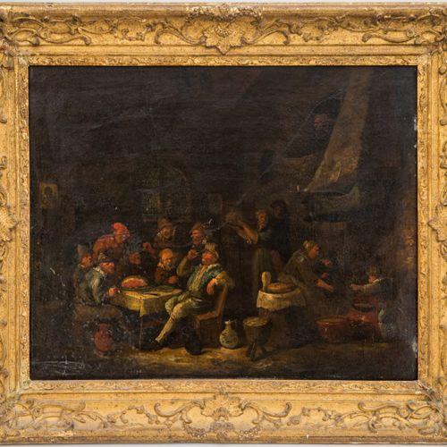 ECOLE HOLLANDAISE début XVIIIe  Scène de taverne  Huile sur toile  45 x 53 cm (a…