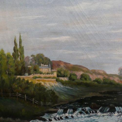 ECOLE FRANCAISE, 1897  Paysage au château au bord de la rivière  Huile sur toile…