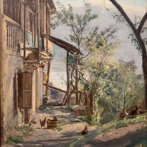 François POGGI (1838 1900)  Poules à la basse cour  Huile sur toile signée en ba…