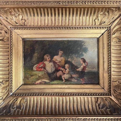 ECOLE FRANCAISE, XIXe  Détente en famille à la campagne  Huile sur carton  11 x …