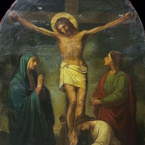 ECOLE FRANCAISE XIXe  Crucifixion  Huile sur toile  80 x 57 cm (fortement restau…