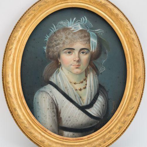 ECOLE FRANCAISE, début XIXe  Portrait de femme  Pastel en ovale signé en bas à d…