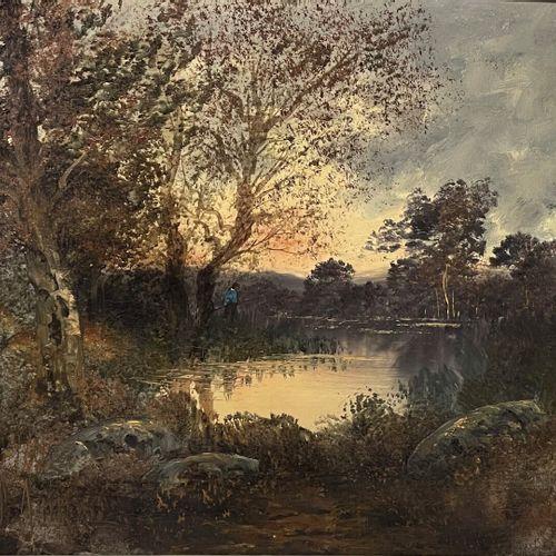 Paul ASTIER (XIX XXe)  Promeneur en sous bois  Huile sur toile signée en bas à g…