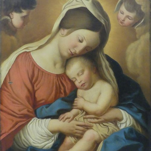 Suiveur de Giovanni BATTISTA  Vierge à l'Enfant  Huile sur toile  81 x 65 cm. (p…