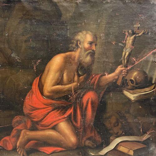ECOLE FRANCAISE XVIIIe  Saint Jérôme en pénitence  Huile sur toile  110 x 113 cm…