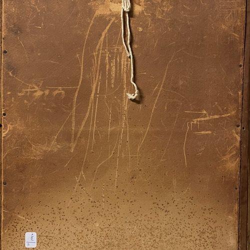 ECOLE FRANCAISE FIN XIXe  Portrait d'homme à la moustache  Huile sur toile marou…