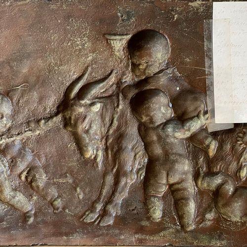 D'après CLODION  Putti s'amusant avec un bouc  Bas relief en bronze  18,5 x 32,5…