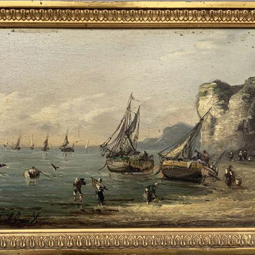 Pierre Julien GILBERT (1783 1860)  Retour de pêche  Huile sur panneau signé en b…