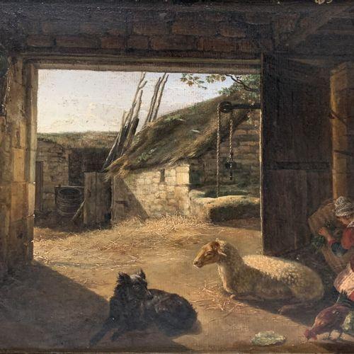 Dans le goût d'August KNIPP  Intérieur de bergerie  Huile sur toile  30 x 35 cm