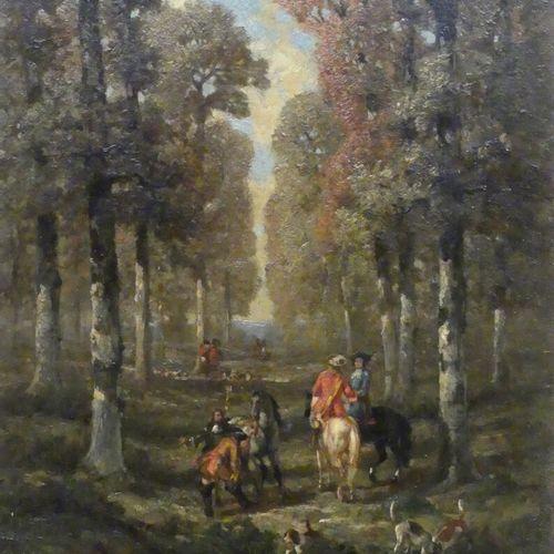 ECOLE FRANCAISE XIXe  La chasse à courre  Huile sur panneau  26 x 20 cm