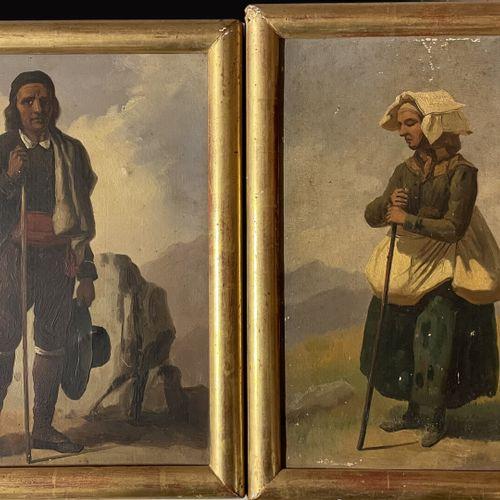 ECOLE FIN XIXe  Couple de bergers  Paire d'huiles sur papiers marouflés  32 x 25…