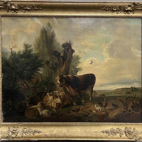 Félix BRACQUEMOND (1833 1914)  Paysage aux vaches et animaux de la ferme  Huile …
