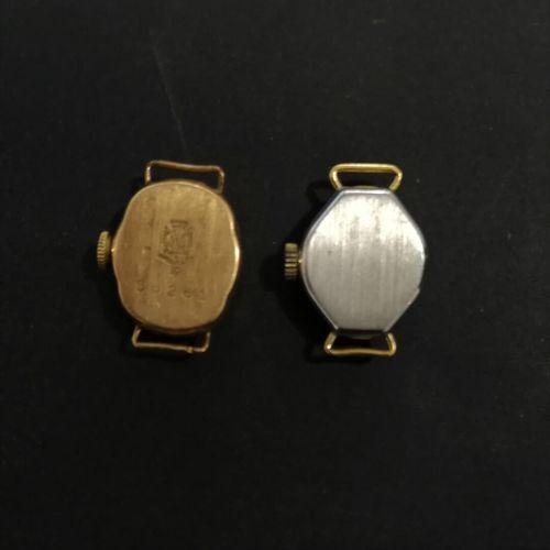 Deux boitiers de montres or et acier  accidents sans garantie de l'état de fonct…