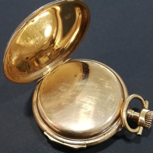 Montre gousset double boitier or, monogrammé poinçon tête de cheval  XIXème  Poi…