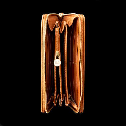 LANCEL Premier filt  Portefeuille en cuir gold, surpiqures blanches  Dim: 10.5 x…
