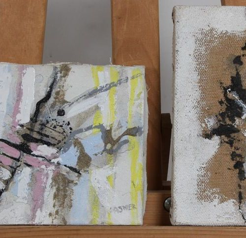 Set of 2 acrylics on canvas. Abstract compositions. Signed. 1F