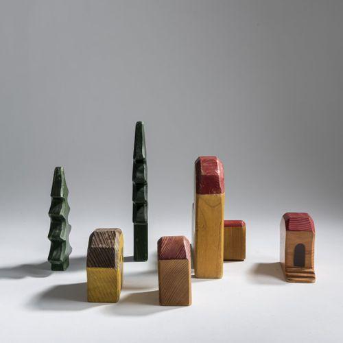 Rudolf Steiner (entourage), 6 jouets anthroposophiques en bois, 1930 50, 3 maiso…