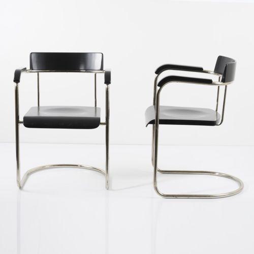 Vichr, Prague, 2 fauteuils, c. 1930, H. 78 x 55 x 61,5 cm. Acier tubulaire, nick…