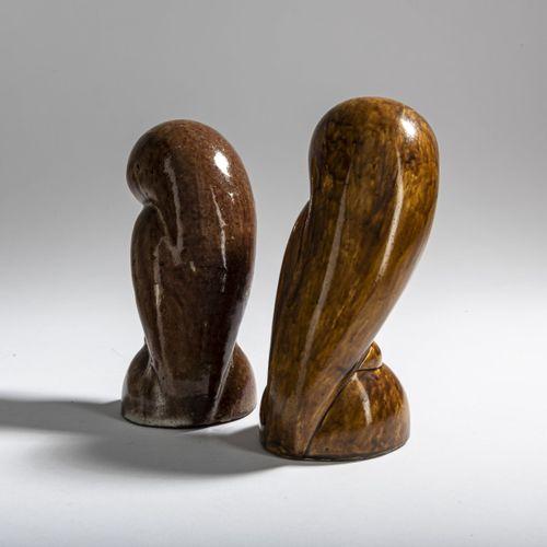 Josef Hartwig, 2 hiboux, 1922, H. 15 16 cm. Fabriqués au Bauhaus de Weimar. Faïe…