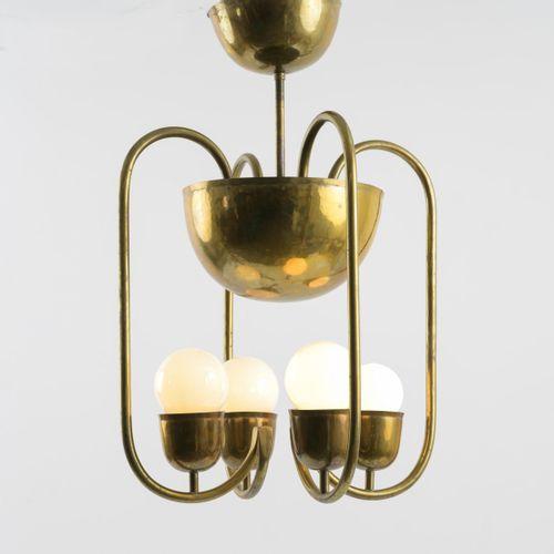 Hayno Focken, Plafonnier, c. 1930, H. 65 cm, D. 44,5 cm. Laiton tubulaire, tôle …
