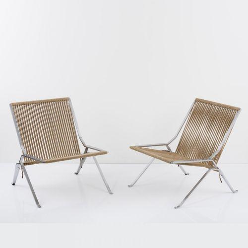 Poul Kjaerholm, 2 'PK 25' 'Element chairs', 1952, H. 73 x 68,5 x 75 cm. Fabriqué…