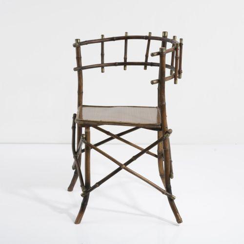 Angleterre, Fauteuil, années 1880, H. 75,5 x 46 x 48 cm. Canne en bambou, teinte…