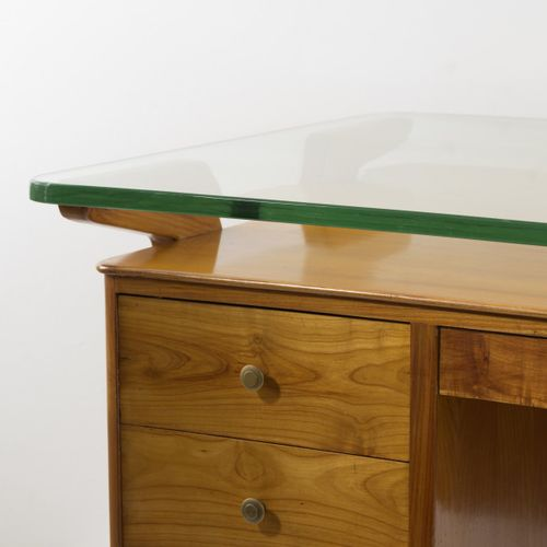 Vittorio Dassi (attr.), Bureau, années 1950, H. 79,5 x 178 x 94,5 cm. Épaisseur …