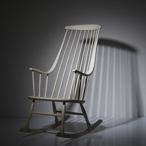 """Lena Larsson, chaise à bascule """"Bohem"""" """"2402"""", 1958, H. 112 x 57 x 90 cm. Fabriq…"""
