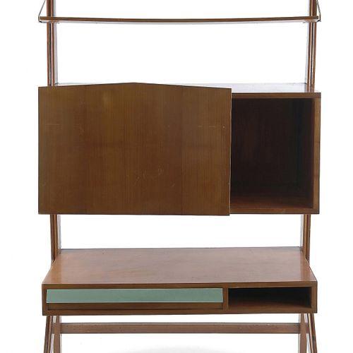 Italie, Secrétaire, c1952, H. 179 x 106 x 39 cm. Construction en bois. Contrepla…