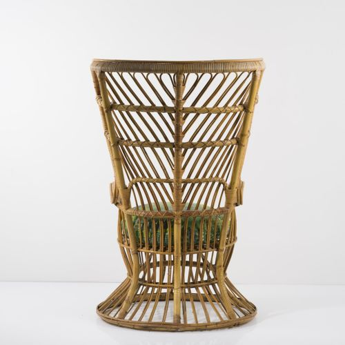 Gio Ponti, Chaise en osier, c. 1950, H. 119,5 x 77 x 90 cm. Fabriquée par Vittor…