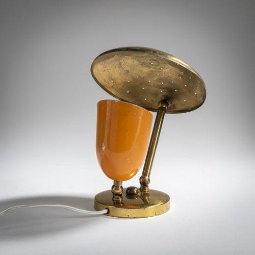 Italie, Lampe de table / applique, années 1950, H. 17 28 cm, D. 16,5 cm. Laiton …