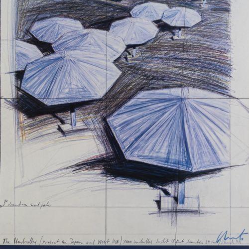Christo (1935 Gabrowo, Bulgarie 2020 New York), Affiche d'exposition 'Umbrellas …