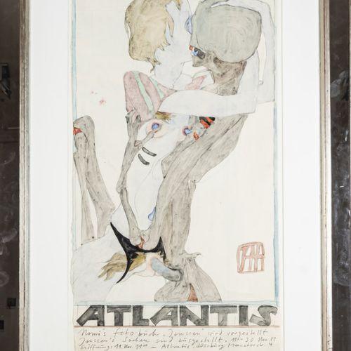 Horst Janssen (1929 Hambourg 1995 ibid.), Affiche d'exposition 'Atlantis' représ…