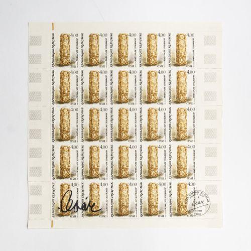 César Baldaccini (César) (1921 Marseille 1998 Paris), Feuille de timbres 'Hommag…