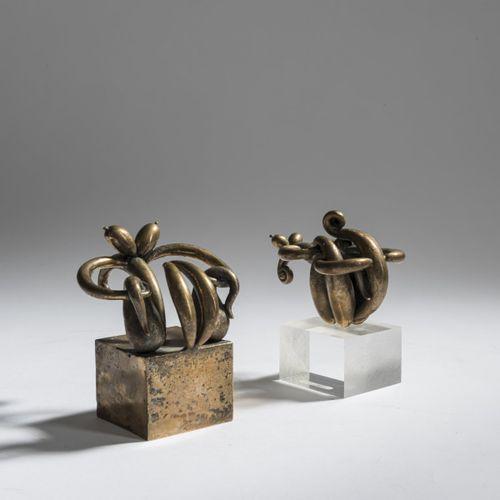 Alfred Aschauer (1931 Bischofswiesen 2013 Munich), Deux figures, 1968, Bronze, p…