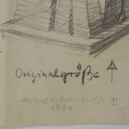 Michael Schoenholz (1937 Duisburg 2019 Berlin), 'Vier Figuren' avec l'esquisse '…