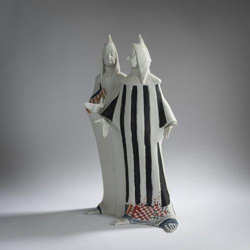 """Ioan Pârvan (1950 Bucarest 1998 ibid.), """"Clowns"""", 1988, Porcelaine bisque, peint…"""