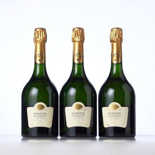 "3 Bottles CHAMPAGNE BRUT BLANC DE BLANCS ""COMTES DE CHAMPAGNE"" (Raw white champa…"