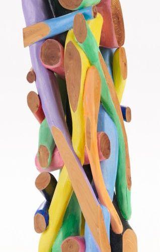 Alain GIRELLI, born in 1948  TOTEM, 956  Sculpture in painted cadenza wood, date…