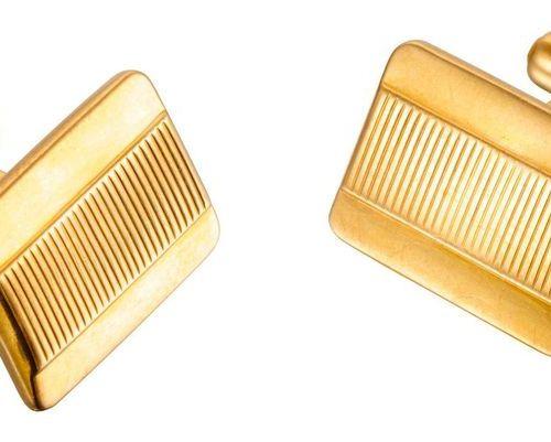 PAIRE DE BOUTONS DE MANCHETTES Yellow gold cufflinks