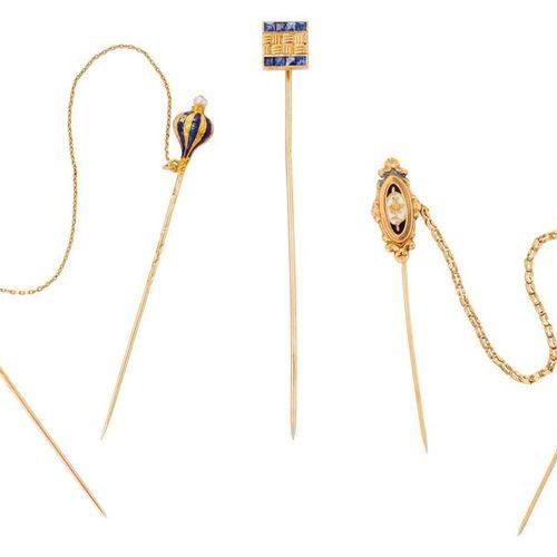 Lot de 3 épingles de cravate : 3 yellow gold tie pins