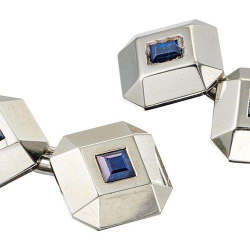 PAIRE DE BOUTONS DE MANCHETTE White gold cufflinks