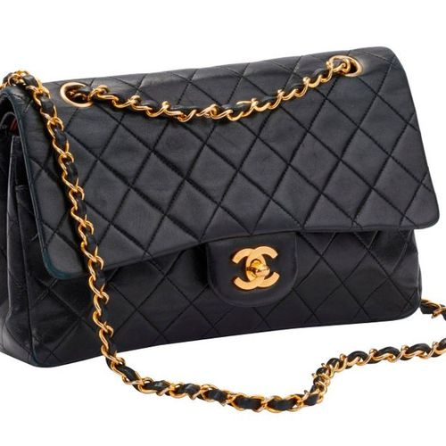 """""""Timeless"""" bag in navy quilted lambskin leather, double C clasp in gold metal, g…"""